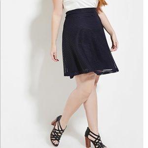 NWOT Forever 21 (PLUS SIZE) Stripe Blue Skirt